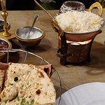 Rogan Josh, rice and Garlic Naan