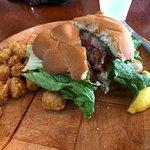 Good sized fish sandwich but tough