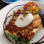 Halloumi Cheese, Poached egg, Tomato, Mushroom and Spinach on Grain Toast