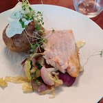 Salmon and baked potato, with anchovy topping - lunch / Lohta ja uuniperunaa anjovisvaahdolla -