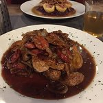 pork with sausage, onions & roasted potatoes