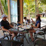 family lunch on the beach at the beach club