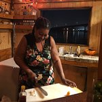 Mama making conch fritters at TZs in Potters' Cay.  a MUST TRY!