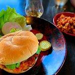 Shrimp burger with caramelized root vegetables and dram of Dewar's