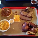 2 meat platter with root beer beans and mac & cheese