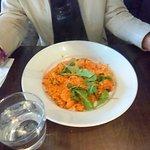 risotto di pollo - chicken & mushrooms sautéed w. olive oil, garlic, parsley, tomato crema sauce