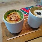 matcha kinako latte i houjicha latte