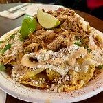 Delicious Elote-styled pulled pork nachos.
