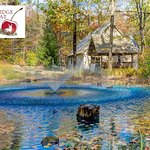 Private romantic luxury Whispering Pines cabin, with private pond, and covered hot tub!