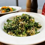 Thunder Salad with quinoa, spinach, pear, fetta & broccoli