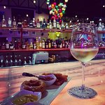 Mexican Chardonnay and appetizer while we waited for our table