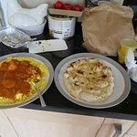 Chicken Vindaloo, Pilau rice and a garlic naan bread - delicious.