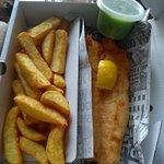 Beer battered haddock, chips and mushy peas. Freshly cooked and delivered to our door,