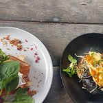Apple cider hollandaise and pomegranates with eggs benedict