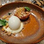 Rhubarb clafoutis, yogust sorbet & vanilla