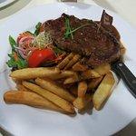 Steak with a well done sticker which was medium rare