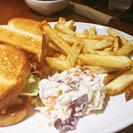 Toasted Shrimp Sandwich with fries and a side of gravy