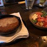 tomato salad, jalapeño cornbread