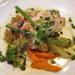 Perch panfried in butter with early potatoes, succulent veggies and Sandefjord sauce