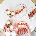 草莓奶油捲、草莓巧克力奶油捲、草莓牛奶、草莓奶茶