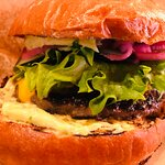 Tasty burger with blue cheese