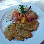 Lachs mit Kartofelpuffer