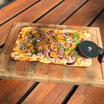 Classic Flammkuchen with bacon, red onions& cheese