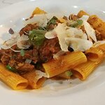 RIGATONI BOLOGNESE WITH EXTRA EXTRA PARMIGIANO CHESSE I ASKED