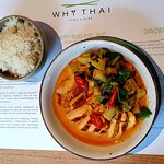 Red curry chicken with jasmine rice.