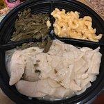 Chicken 'n' Dumplins Platter with Mac 'n' Cheese and Green Beans