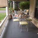 We ate our breakfasts each morning on the lovely wrap around porch, and enjoyed our wine out on the porch in the evenings!   There is even a porch swing around the corner on the far end of the porch - perfect for early morning book reading!