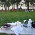 Inkludert i teltavgiften til frokost: Eplekake, brownies, ferske jordbær, kaffe /te.