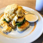 Veg Stack. Hash browns, tomato, spinach, poached eggs and hollandaise. (I requested my eggs scra