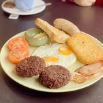 Full English All Day Breakfast with a side of Black Pudding.