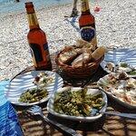 The tasty table with green bean salad and şakşuka