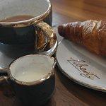 Croissant and breakfast tea. Love the crockery!