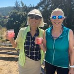 April and Jennifer with raspberry rhubarb spritzers