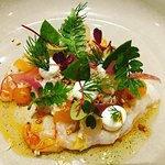 Red Argentinian Prawn with melon, horseradish and dill