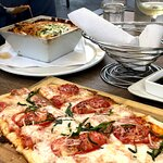 Flatbread pizza and baked lasagna