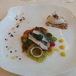 Sardine marinées aux épices et sorbet mozzarella bufflone