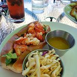My delicious lobster roll meal with fresh slaw
