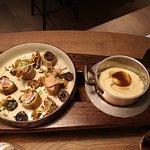 Croustillant de pigeon et foie gras et son accompagnement