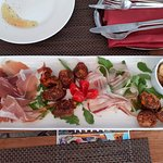 Everything on this plate was very tasty, including the olive oil on the plate right next to the