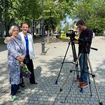 Наша съемочная группа после интервью в музее-квартире Юрия Павловича Спегальского - великого исс