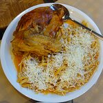 Tomato Sauce Rooster with Flomaria (a local type of pasta), Taverna Man-Tella at Sardes village