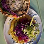 My tuna tartare tostada and fancy steak burrito......TO DIE FOR!