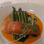 Salmon with asparagus, fingerlings, and a tomato coulis. My friends had the shrimp and grits and