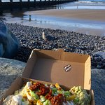 Dirty fries and chilli sauce enjoyed on the rocks. Seagull was desperate to share!