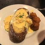Special: Salted baked potato with crab and shrimp sauce. Hush puppies on the side.