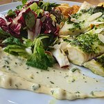 Cod fillet with salad and french fries